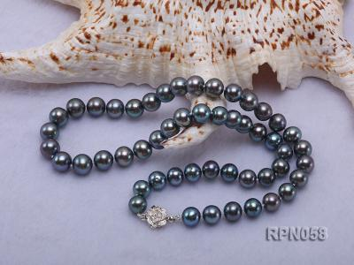 8-9mm Purplish Black Round Freshwater Pearl Necklace with Sterling Silver Clasp RPN058 Image 2