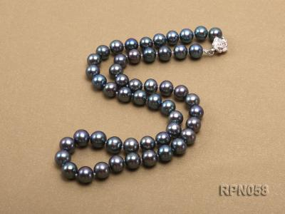 8-9mm Purplish Black Round Freshwater Pearl Necklace with Sterling Silver Clasp RPN058 Image 4
