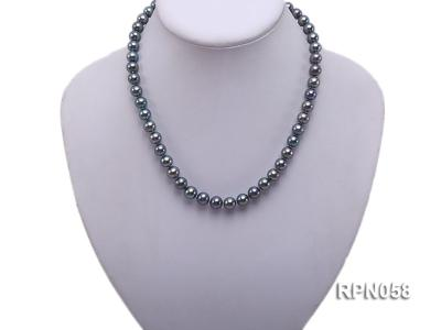 8-9mm Purplish Black Round Freshwater Pearl Necklace with Sterling Silver Clasp RPN058 Image 5