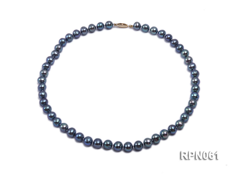 Fashionable Single-strand 8-8.5mm Bluish Black Round Freshwater Pearl Necklace big Image 1
