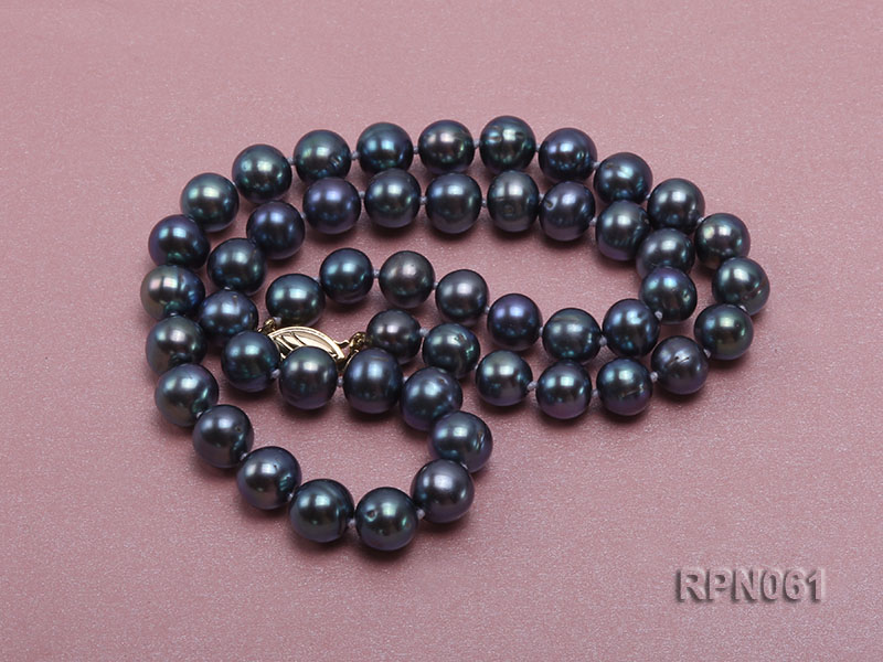 Fashionable Single-strand 8-8.5mm Bluish Black Round Freshwater Pearl Necklace big Image 2