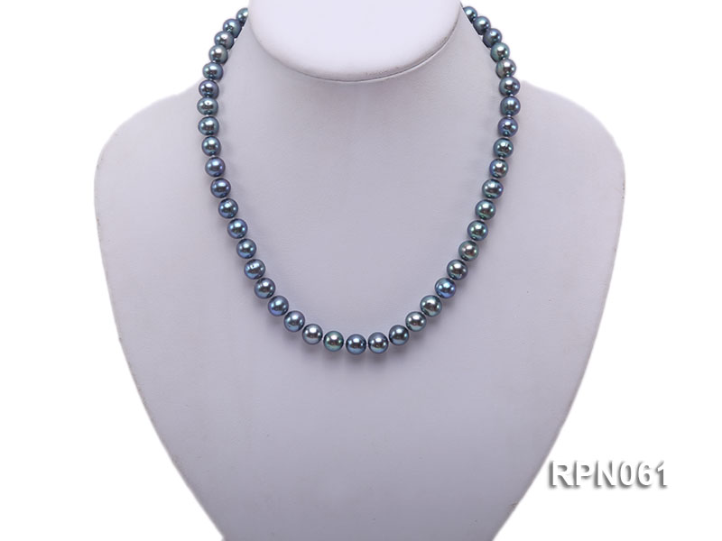 Fashionable Single-strand 8-8.5mm Bluish Black Round Freshwater Pearl Necklace big Image 5