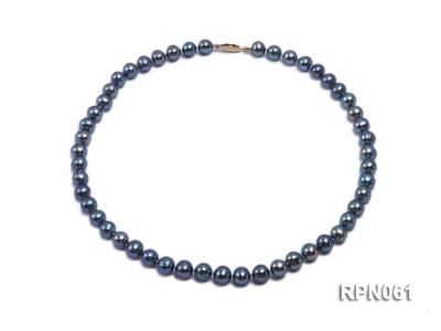 Fashionable Single-strand 8-8.5mm Bluish Black Round Freshwater Pearl Necklace RPN061 Image 1