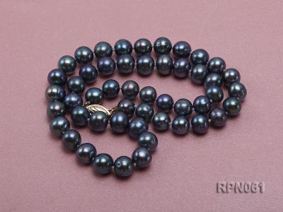 Fashionable Single-strand 8-8.5mm Bluish Black Round Freshwater Pearl Necklace RPN061 Image 2