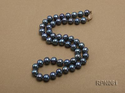 Fashionable Single-strand 8-8.5mm Bluish Black Round Freshwater Pearl Necklace RPN061 Image 3