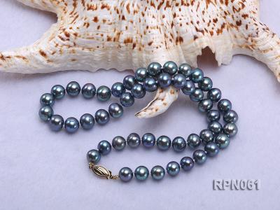 Fashionable Single-strand 8-8.5mm Bluish Black Round Freshwater Pearl Necklace RPN061 Image 4