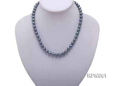 Fashionable Single-strand 8-8.5mm Bluish Black Round Freshwater Pearl Necklace RPN061 Image 5