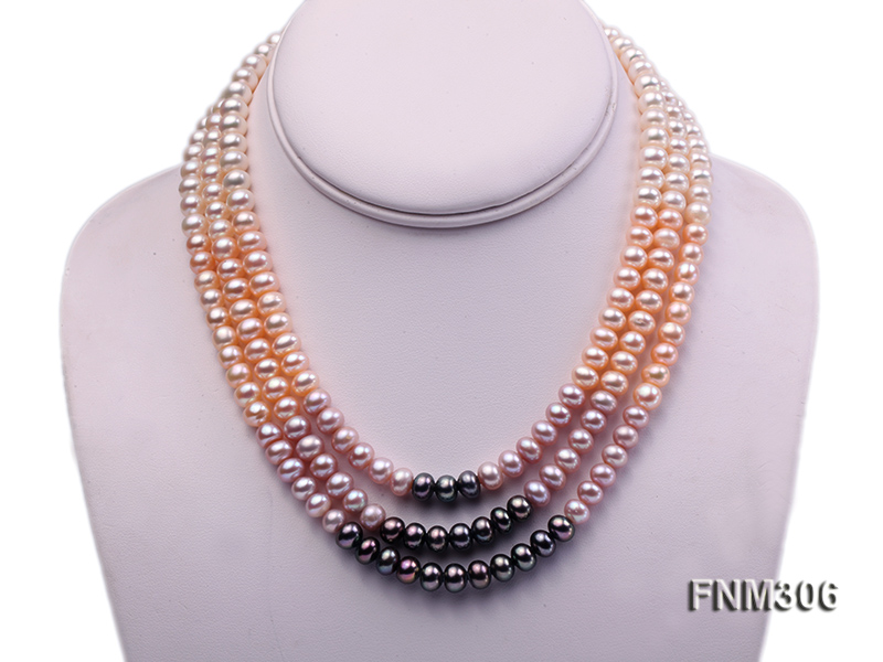 3 strand white,pink and black freshwater pearl necklace with sterling sliver clasp big Image 1