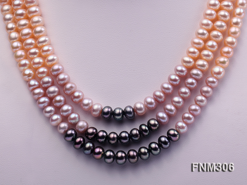 3 strand white,pink and black freshwater pearl necklace with sterling sliver clasp big Image 2
