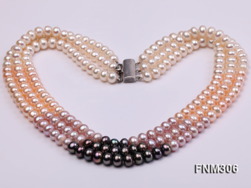 3 strand white,pink and black freshwater pearl necklace with sterling sliver clasp big Image 3