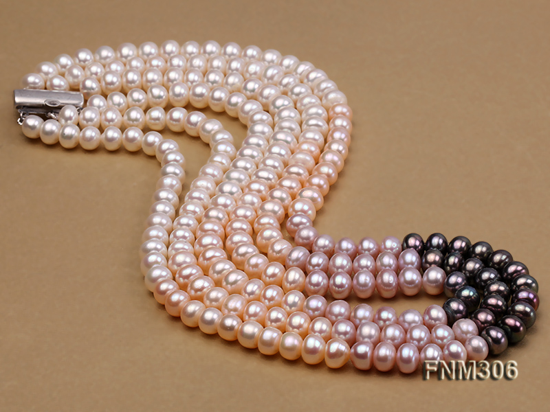 3 strand white,pink and black freshwater pearl necklace with sterling sliver clasp big Image 4