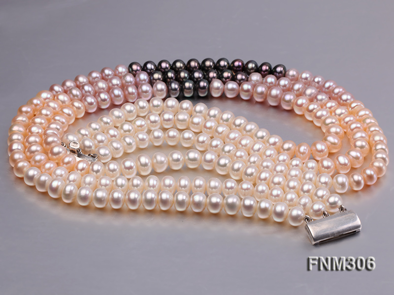 3 strand white,pink and black freshwater pearl necklace with sterling sliver clasp big Image 6