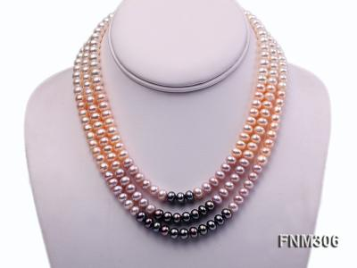 3 strand white,pink and black freshwater pearl necklace with sterling sliver clasp FNM306 Image 1