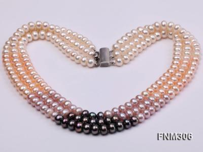 3 strand white,pink and black freshwater pearl necklace with sterling sliver clasp FNM306 Image 3