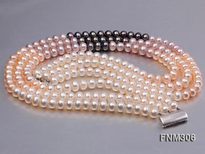 3 strand white,pink and black freshwater pearl necklace with sterling sliver clasp FNM306 Image 6