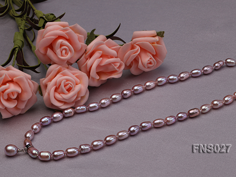 6-7mm natural lavender rice freshwater pearl single necklace with pearl pendant big Image 2