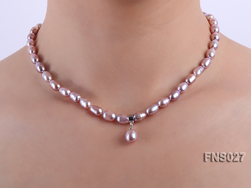 6-7mm natural lavender rice freshwater pearl single necklace with pearl pendant big Image 5