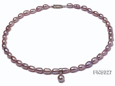 6-7mm natural lavender rice freshwater pearl single necklace with pearl pendant FNS027 Image 1