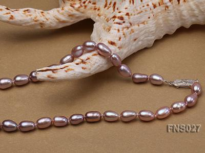 6-7mm natural lavender rice freshwater pearl single necklace with pearl pendant FNS027 Image 3
