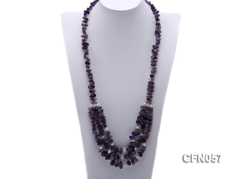 10-14mm Amethyst Chips Long Necklace big Image 1
