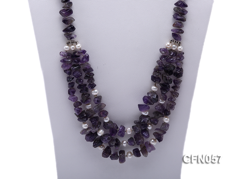 10-14mm Amethyst Chips Long Necklace big Image 2
