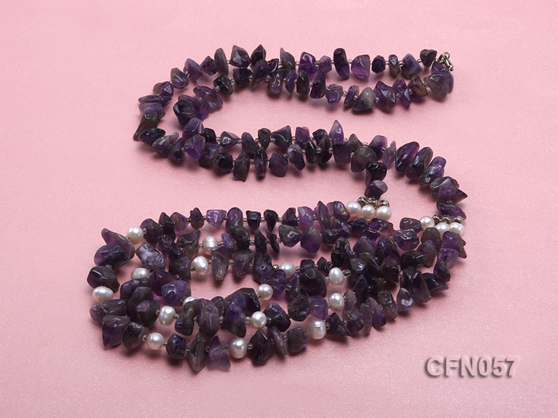 10-14mm Amethyst Chips Long Necklace big Image 4