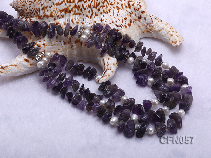 10-14mm Amethyst Chips Long Necklace big Image 5