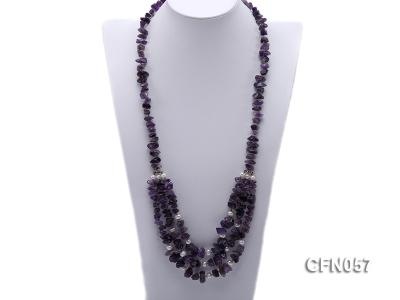10-14mm Amethyst Chips Long Necklace CFN057 Image 1