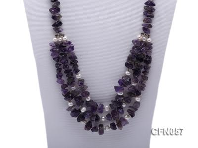 10-14mm Amethyst Chips Long Necklace CFN057 Image 2