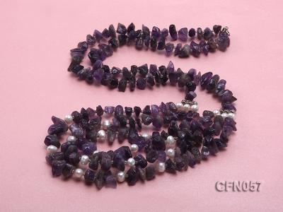 10-14mm Amethyst Chips Long Necklace CFN057 Image 4