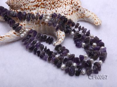 10-14mm Amethyst Chips Long Necklace CFN057 Image 5