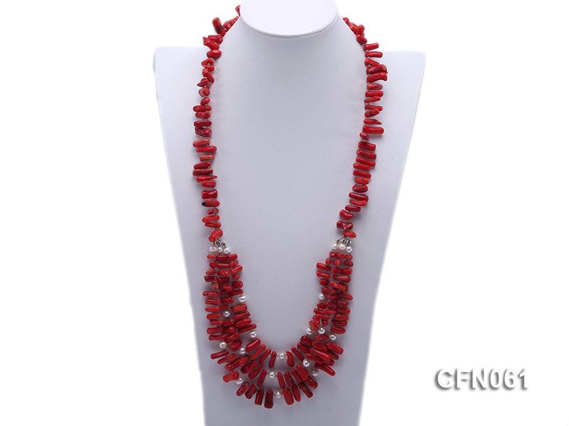9-13mm Red Coral Long Necklace big Image 1