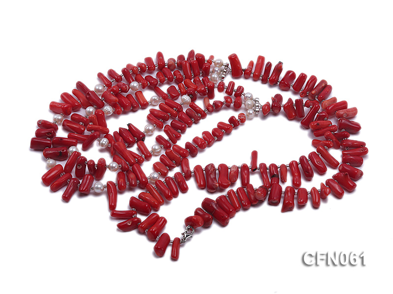 9-13mm Red Coral Long Necklace big Image 3