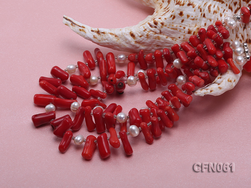 9-13mm Red Coral Long Necklace big Image 5