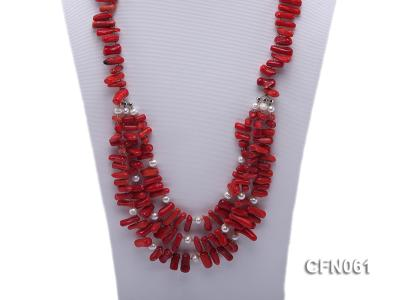 9-13mm Red Coral Long Necklace CFN061 Image 2