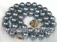 9.5-10.5mm Greylish Black Round Freshwater Pearl Necklace with 14K Gold Clasp RPN062