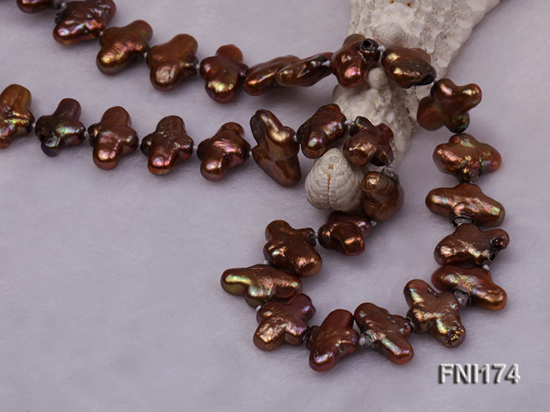Classic 9x15mm Coffee Cross-shaped Freshwater Pearl Necklace big Image 3