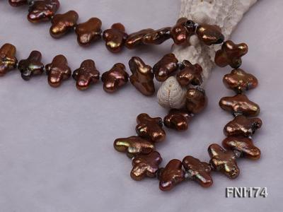 Classic 9x15mm Coffee Cross-shaped Freshwater Pearl Necklace FNI174 Image 3