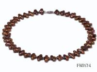 Classic 9x15mm Coffee Cross-shaped Freshwater Pearl Necklace FNI174
