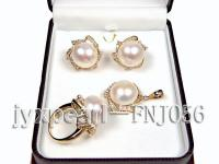 15.4mm White Freshwater Pearl Pendant, Ring and Earrings Set FNJ056