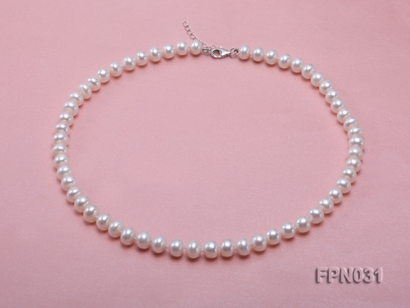 Classic 8.5-9.5mm White Flat Cultured Freshwater Pearl Necklace big Image 1