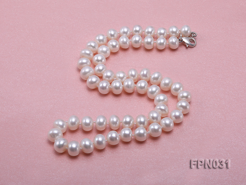 Classic 8.5-9.5mm White Flat Cultured Freshwater Pearl Necklace big Image 5