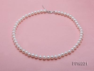 Classic 8.5-9.5mm White Flat Cultured Freshwater Pearl Necklace FPN031 Image 1