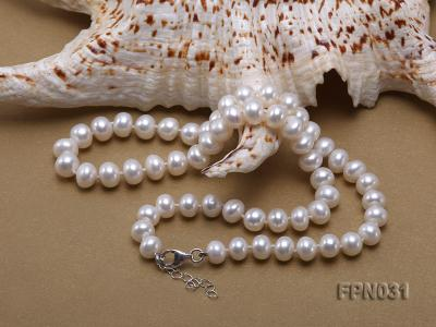 Classic 8.5-9.5mm White Flat Cultured Freshwater Pearl Necklace FPN031 Image 2