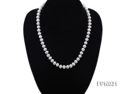 Classic 8.5-9.5mm White Flat Cultured Freshwater Pearl Necklace FPN031 Image 4