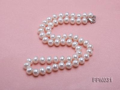 Classic 8.5-9.5mm White Flat Cultured Freshwater Pearl Necklace FPN031 Image 5