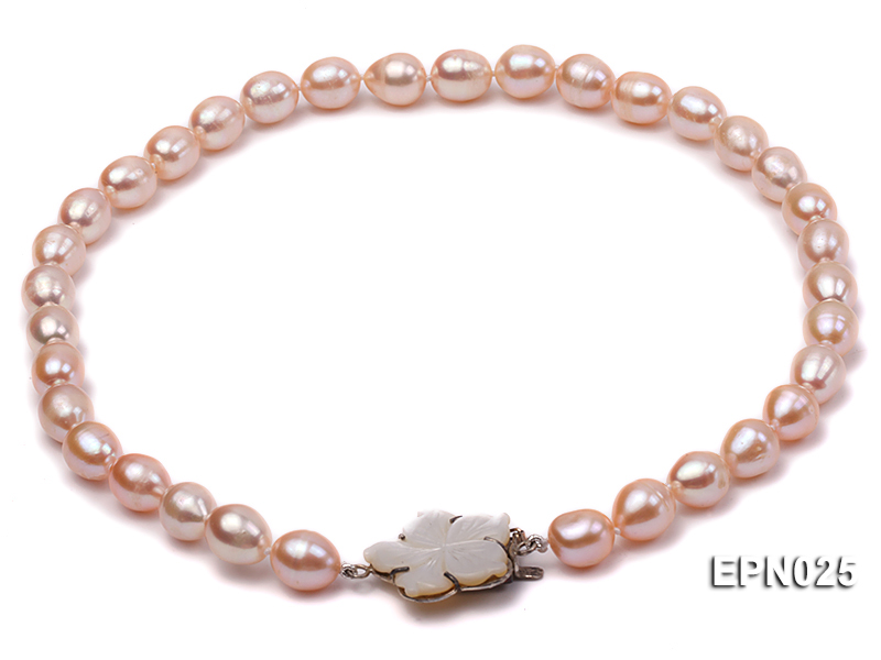 Extraordinary 10x12mm Natural Pink Elliptical Freshwater Pearl Necklace big Image 2