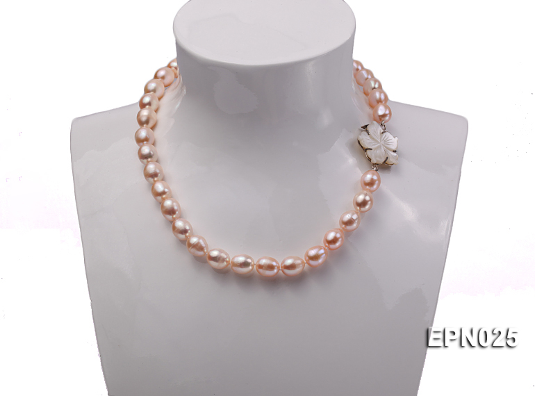 Extraordinary 10x12mm Natural Pink Elliptical Freshwater Pearl Necklace big Image 6