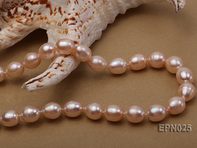Extraordinary 10x12mm Natural Pink Elliptical Freshwater Pearl Necklace big Image 7