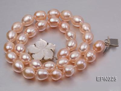 Extraordinary 10x12mm Natural Pink Elliptical Freshwater Pearl Necklace EPN025 Image 1